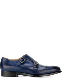 Синие кожаные монки с двумя ремешками