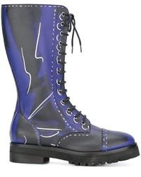 Синие кожаные сапоги от Moschino