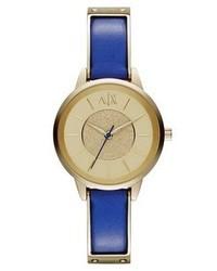 Синие кожаные часы