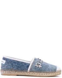 Мужские синие кожаные эспадрильи от Philipp Plein