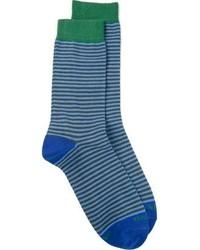 Мужские синие носки в горизонтальную полоску