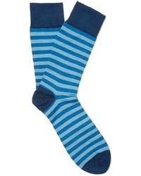 Мужские синие носки в горизонтальную полоску от John Smedley