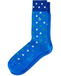 Синие носки в горошек