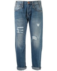 Синие рваные джинсы-бойфренды