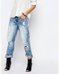 Синие рваные джинсы-бойфренды от Blank NYC