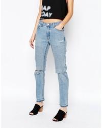 Женские синие рваные джинсы-бойфренды от Cheap Monday