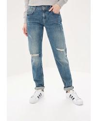 Синие рваные джинсы-бойфренды от Colin's