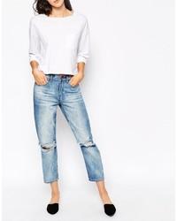 Синие рваные джинсы-бойфренды от Dr. Denim
