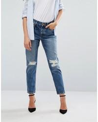 Женские синие рваные джинсы-бойфренды от Mango