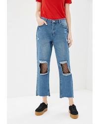 Синие рваные джинсы-бойфренды от Modis