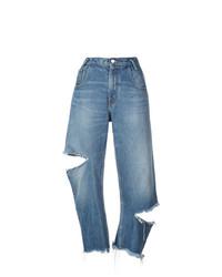 Синие рваные джинсы-бойфренды от Monse