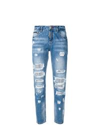 Синие рваные джинсы-бойфренды от Philipp Plein