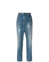 Синие рваные джинсы-бойфренды от Saint Laurent