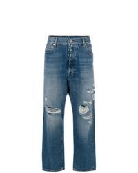 Синие рваные джинсы-бойфренды от Unravel Project