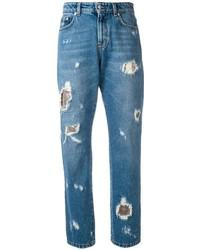 Синие рваные джинсы-бойфренды от Versus