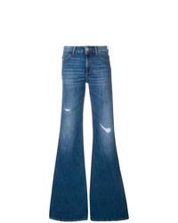 Синие рваные джинсы-клеш от Dondup