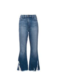 Синие рваные джинсы-клеш от Frame Denim