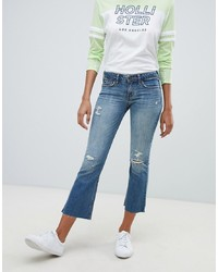Синие рваные джинсы-клеш от Hollister