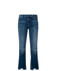 Синие рваные джинсы-клеш от J Brand