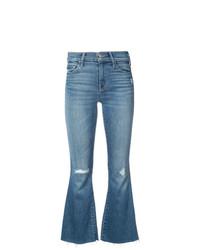 Синие рваные джинсы-клеш от Mother