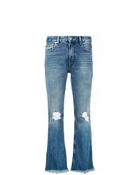 Синие рваные джинсы-клеш от MSGM
