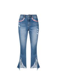 Синие рваные джинсы-клеш от Sjyp