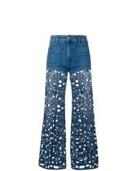 Синие рваные джинсы-клеш от The Seafarer