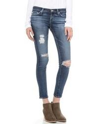 Женские синие рваные джинсы скинни от AG Jeans