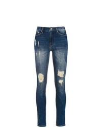Синие рваные джинсы скинни от Amapô