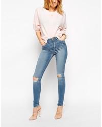 Женские синие рваные джинсы скинни от Asos