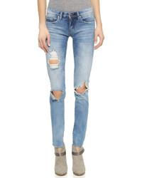 Женские синие рваные джинсы скинни от Blank