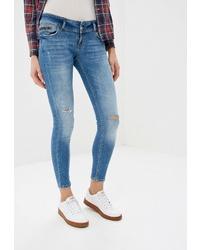 Синие рваные джинсы скинни от Colin's