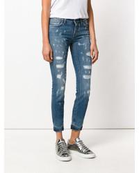 Синие рваные джинсы скинни от Dolce & Gabbana