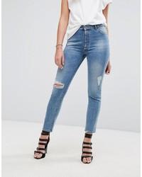 Синие рваные джинсы скинни от DL1961