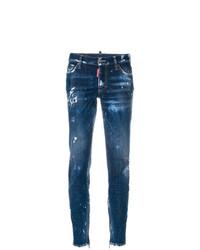 Синие рваные джинсы скинни от Dsquared2
