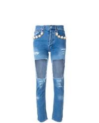 Синие рваные джинсы скинни от Forte Dei Marmi Couture