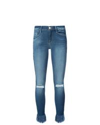 Синие рваные джинсы скинни от Frame Denim