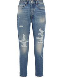 Женские синие рваные джинсы скинни от Frame