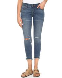 Женские синие рваные джинсы скинни от Free People
