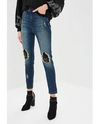 Синие рваные джинсы скинни от Hellen Barrett
