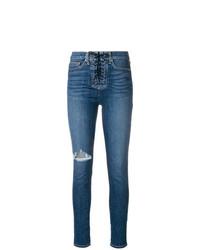 Синие рваные джинсы скинни от Hudson