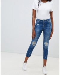 Синие рваные джинсы скинни от Jdy