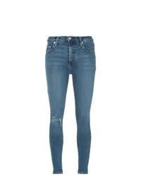 Синие рваные джинсы скинни от Nobody Denim