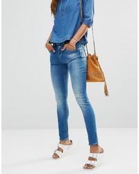 Женские синие рваные джинсы скинни от Only