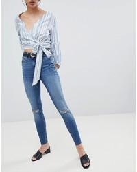Синие рваные джинсы скинни от Pieces