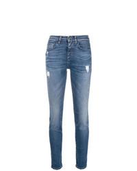 Синие рваные джинсы скинни от Pinko