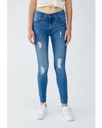 Синие рваные джинсы скинни от Pull&Bear