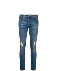 Синие рваные джинсы скинни от R13