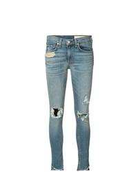Синие рваные джинсы скинни от rag & bone/JEAN