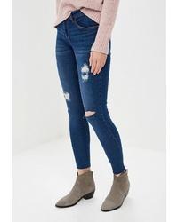 Синие рваные джинсы скинни от Tiffosi